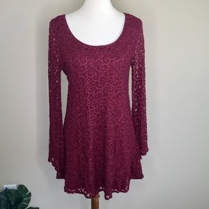 Umgee USA Maroon Lace Overlay Bell Sleeve Dress M